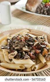 Penne with mushroom sauce. Food photography. Italian cuisine accompanied by mushroom sauce.
