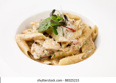 Penne pasta with chicken and mushrooms in Boletus sauce