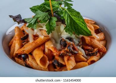 Penne pasta with chili sauce arrabiata