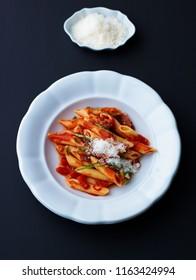 Penne pasta. Noodle with tomato sauce, all arrabiata