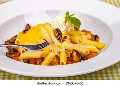 Penne pasta with pumpkin, tofu and mushrooms on white plate. Close up