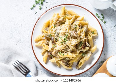 Penne pasta with white mushrooms porcini in creamy sauce. Top view on stone table.