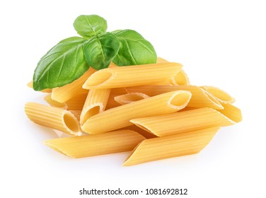 Penne rigate pasta and basil isolated on white background. With clipping path.