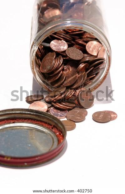 pennies in a glass jar