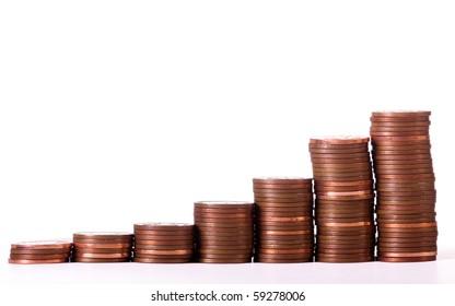 Pennies in increasing heights of pile representing growth.