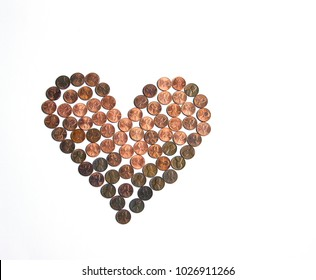 Pennies in the shape of a heart