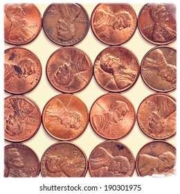pennies with texture overlay and grunge border