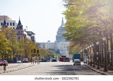 Pennsylvania Avenue towards United States Capitol Congress building on National Mall in Washington, D.C.