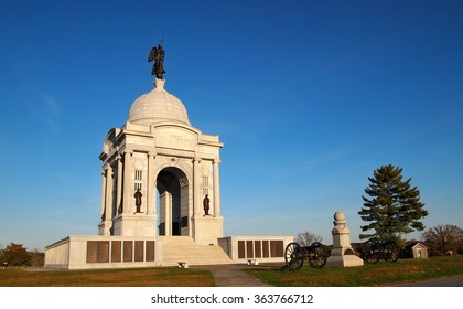 The Pennsylvania Memorial Monument, in the Gettysburg National Military Park, in Adams County, Pennsylvania, on an autumn day.