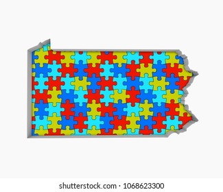 Pennsylvania PA Puzzle Pieces Map Working Together 3d Illustration