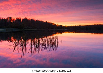 Pennsylvania Ricketts Glen State Park Lake Jean Sunset Reflection