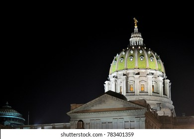 Pennsylvania State Capitol Building Dome at Night