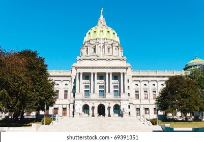 Pennsylvania State capitol building with green dome