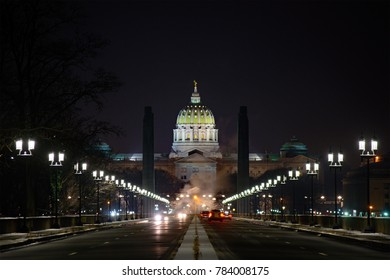 Pennsylvania State Capitol Building at Night