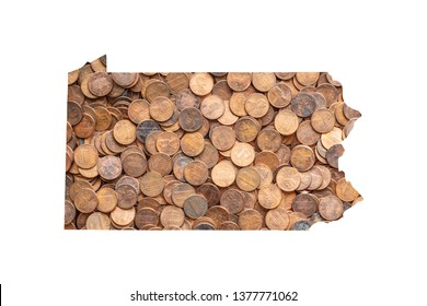 Pennsylvania State Map and Money Concept, Piles of Coins, Pennies