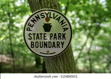 Pennsylvania State Park Boundary Sign Appalachian Trail Forest Tree