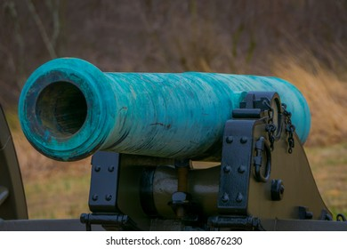 Pennsylvania, USA, APRIL, 18, 2018: Close up of turquoise cannon of Napoleon, 12 lb located in a cemetery park in Gettysburg National Historical Battlefield