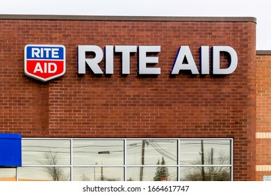 Pennsylvania, USA - March 3, 2020: One of Rite Aid store sign in Pennsylvania, USA.