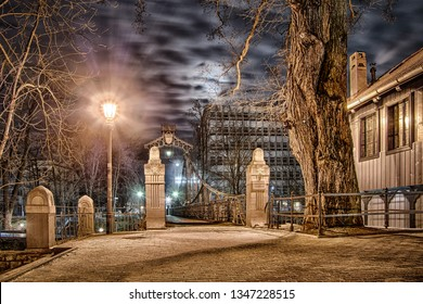 The Penny Bridge in Opole at night