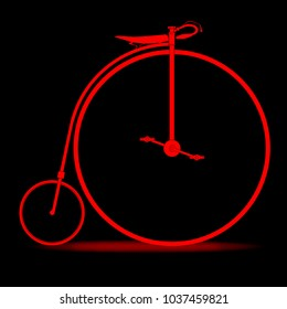 A penny farthing bicycle in red over a black background.