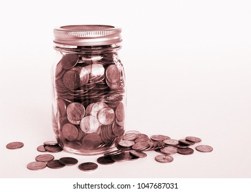 Penny Jar with Scattered Pennies
