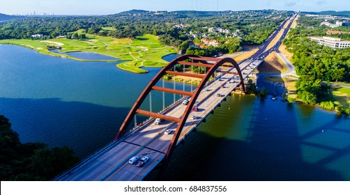 Pennybacker Bridge or 360 Bridge an Austin Texas Landmark aerial drone view summertime morning sunshine