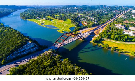 Pennybacker Bridge or 360 Bridge an Austin Texas Landmark High Aerial Drone view of Texas Hill Country Landscape