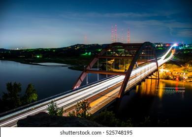 Pennybacker Bridge an Austin Texas USA Landmark iconic memory of the Texas Hill Country suspension bridge at Night long exposure timelapse
