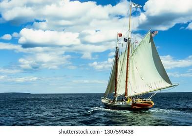 Penobscot Bay, Maine, USA, The Stephen Tabor windjammer sailing, July 29, 1997