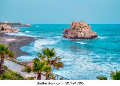 Penon del Cuervo beach. Costa del sol, Malaga, Spain