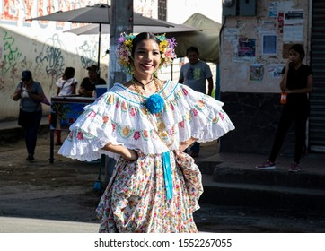 PENONOME-PANAMA-NOV 4, 2019: Folklore dancer in the streets of Penonome celaebrating the separation of Panama from Colombia's anniversary