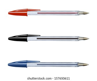Pens collection isolated on white (with clipping work path)