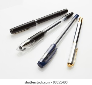 pens on white background, close up