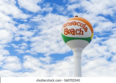Pensacola Beach Florida Iconic Beach Ball Water Tower with Blue Skies