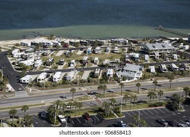 Pensacola Beach Florida USA - October 2016 - Overview of a RV seaside park on the Florida coast at pensacola Beach