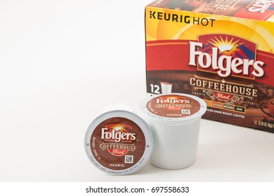 Pensacola, FL - August 05, 2017: Folgers brand coffehouse coffee in Keurig K-cups with box.