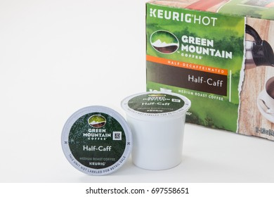 Pensacola, FL - August 05, 2017: Green Mountain brand Half Caff coffee Keurig K-cups.