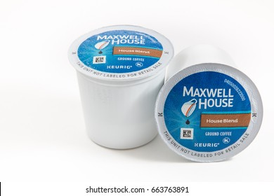 Pensacola, FL - June 14, 2017: Maxwell House Keurig K-cups coffee in House Blend flavor is a popular coffee in America.