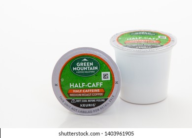 Pensacola, FL - May 21, 2019: Green Mountain Half Caffeine Keurig K-cups coffee single serve pods.