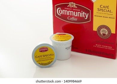 Pensacola, FL - May 27, 2019: Community brand coffee in K-cups Cafe Special flavor.