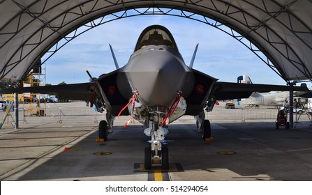 Pensacola, FL, USA - November 11, 2016: A U.S. Air Force F-35 Joint Strike Fighter (Lightning II) jet in a hangar. This F-35 is assigned to the 33rd Fighter Wing at Eglin Air Force Base.