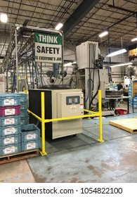 Pensacola, FL, USA October 4, 2017 A manufacturing facility in Pensacola Florida displays signs advising their employees to be alert and think saftey