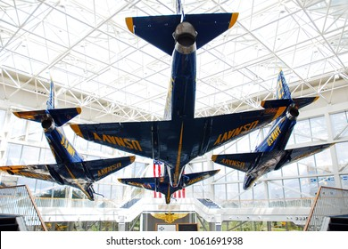 Pensacola, FL, USA September 15, The jets of the Blue Angels are on prominent display in the atrium of the Museum of Naval Aviation in Pensacola, Florida