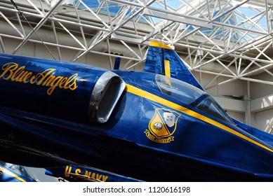 Pensacola, FL, USA September 18, An F/A 18 Hornet, used by the Blue Angels, are hung from the atrium ceiling and on display at the Naval Aviation Museum in Pensacola, Florida