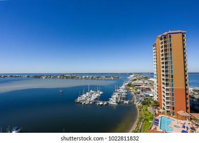pensacola,fl/usa-october 30 2017:pensacola sabine bay with boats and hotel