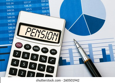 pension concept displayed on calculator