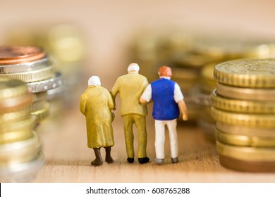 Pension people retirement with money way and happiness with your life.