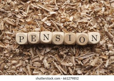 Pension word in cube wood