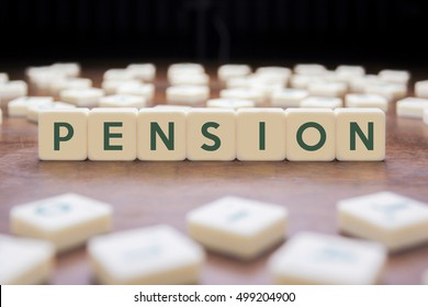 PENSION word on block concept