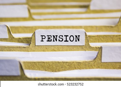 Pension word on card index paper